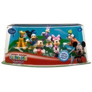 Disney Mickey Mouse Clubhouse Figurine Play Set -- 6-Pc.  (200653) by Disney. $44.00. Includes Mickey Mouse, Minnie Mouse, Donald Duck, Daisy Duck, Goofy and Pluto toy figures. Scenic display packaging. Ages 3+. Back of package folds down to create a play scene backdrop, fastens back again with self-stick fabric closure. Plastic/PVC; Figures up to 3 1/2'' H. Join the jamboree with the Mickey Mouse Clubhouse Figurine Play Set. This Disney toy figure set includes Mickey M...