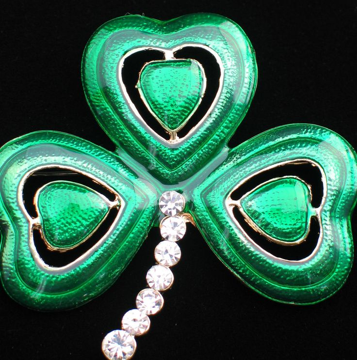 "ST PATRICKS PATTY'S DAY IRISH LEPRECHAUN SHAMROCK CLOVER FLOWER PIN BROOCH 2.5""  #Unbranded"