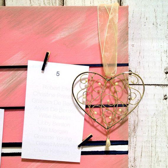 Wedding Seating Chart  Navy & Pink Hearts  Seating Plan by kaetoo