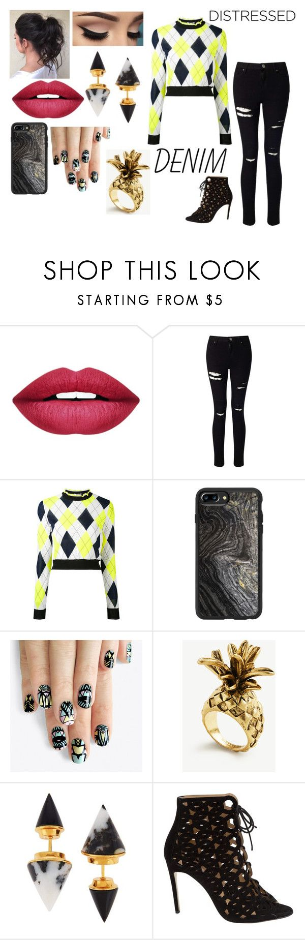 """Distressed Black Denim"" by fashion-1993 ❤ liked on Polyvore featuring Forever 21, Miss Selfridge, MSGM, Casetify, alfa.K, Ann Taylor, Vita Fede, Bionda Castana, denim and distresseddenim"