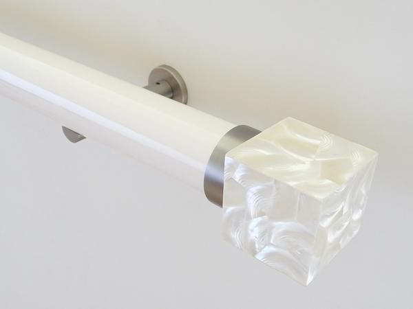50mm diameter soft white gloss lacquered curtain pole with riva cube finials and steel brackets