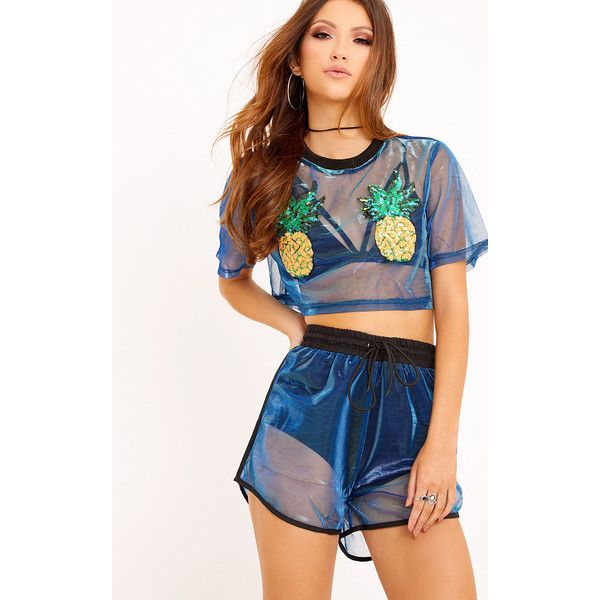 Jennifer Cobalt Sequin Applique Mesh Top ($26) ❤ liked on Polyvore featuring tops, blue, going out tops, sequin embellished top, sequin top, pineapple top and sequin party tops