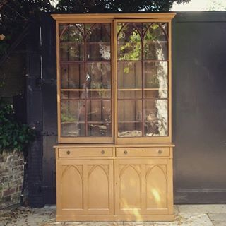 Striking gothic bookcase with period paint finish. Now available.. #interiors #antique #furniture #gothic #regency #victorian #oldpaint #paint #bookcase #decorative #colour #interiordesign #aesthetic #design #somerton #somerset #october #autumn #library #diningroom #sittingroom #tinhouse #home #garden #newstock #tradchap