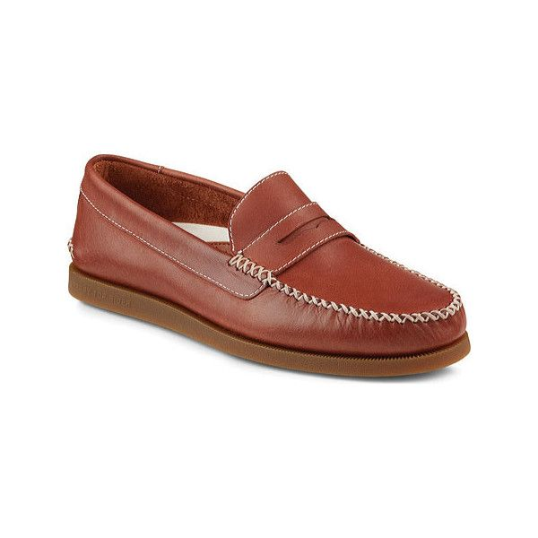 Men's Sperry Top-Sider A/O Wedge Leather Penny Loafer - Tan... ($100) ❤ liked on Polyvore featuring men's fashion, men's shoes, men's loafers, casual, penny loafers, tan, mens shoes, mens tan loafers, mens penny loafer shoes and mens suede shoes