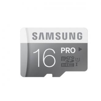 Karta pamięci Samsung Micro SD PRO 16GB class 10 + adapter Zapisuj ważne dla Ciebie wspomnienia szybko. Karty pamięci Samsung z serii PRO spełniają standard szybkości UHS-1, więc rejestruję zdjęcia i filmy o wiele szybciej niż standardowe karty microSD. Dodatkowe zabezpieczenia przed najczęstszymi uszkodzeniami, oraz dostosowanie kart do zróżnicowanych warunków atmosferycznych czynią z nich niezawodnych kompanów nawet najdalszych podróży.