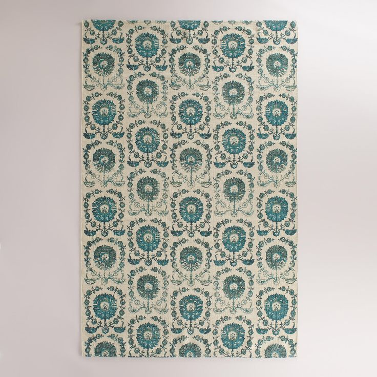 5'x8' Blue Floral Wool Bijuri Area Rug | World Market