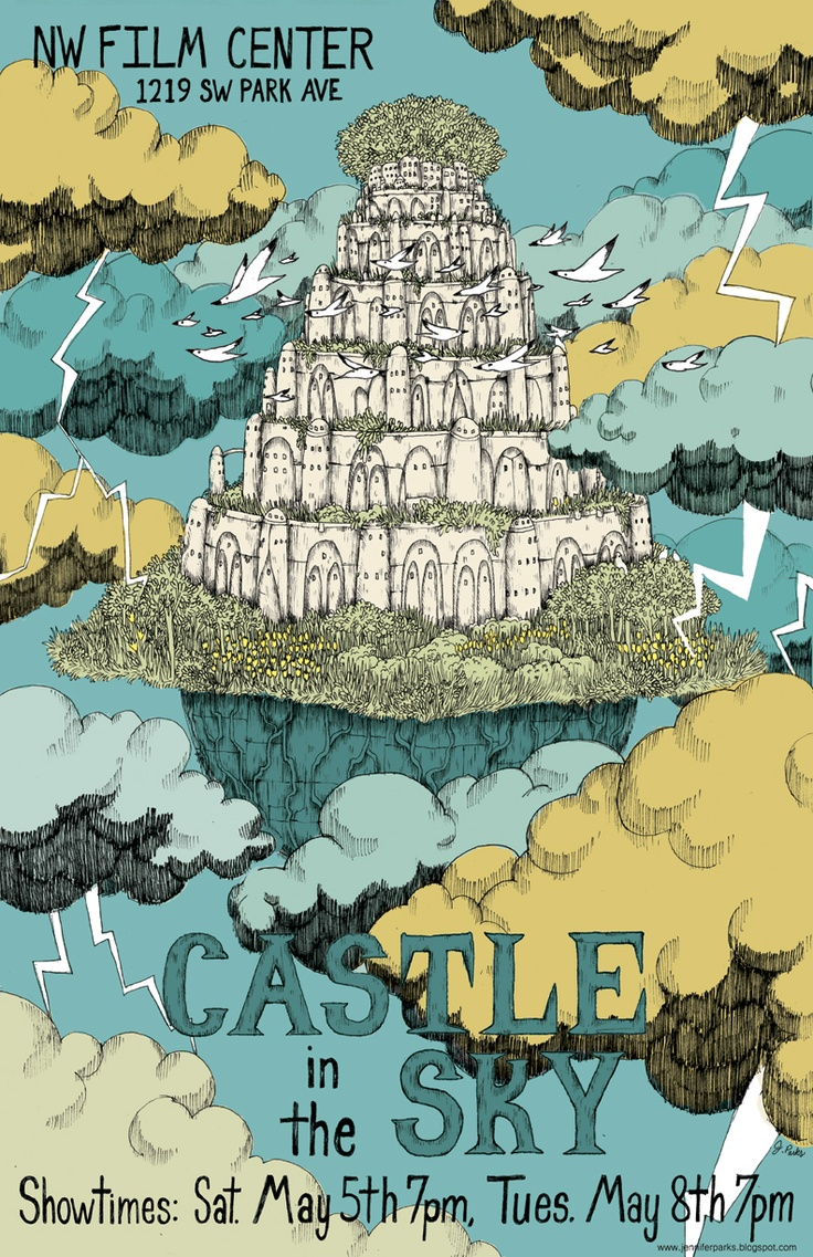 Castle in the Sky poster, reimagined by Jennifer Parks for the NW Film Festival