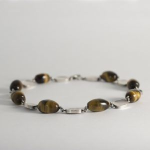 Silver and tiger eye collier by Arvo Saarela, Sweden, 1964