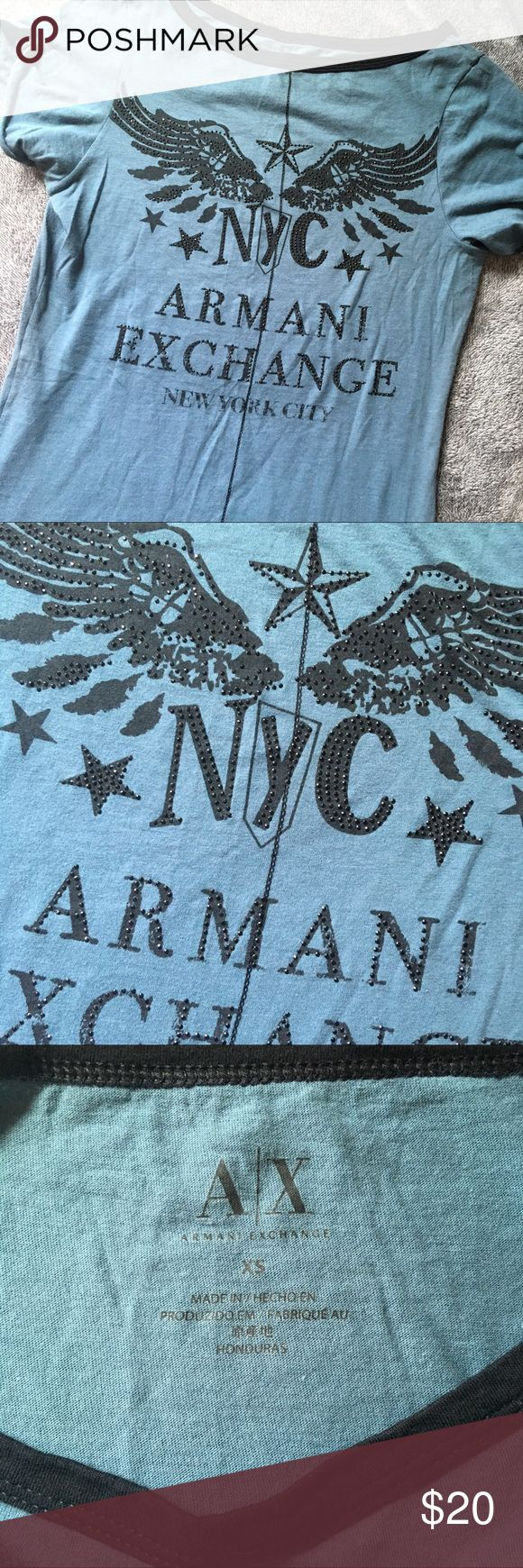 Armani Exchange Top • Size X-Small • Armani Exchange • Rhinestones on Lettering • All Rhinestones Intact • No Holes / No Stains • Super Stretchy Material  ⚠️ All items are individually video recorded during packaging and before shipment. This is to prevent fraud & assure you receive the item you ordered in the condition described. Armani Exchange Tops Tees - Short Sleeve