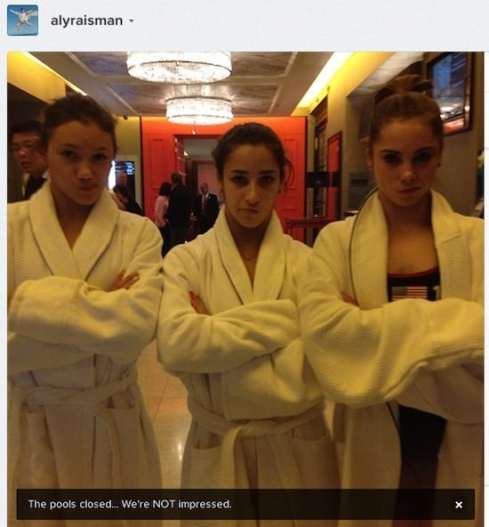 (Instagram)Thanks to Aly Raisman and her Instagram, we have this blurry shot of gold medalists Raisman, McKayla Maroney and Kyla Ross doing their best impression of McKayla Maroney's unimpressed face. Long live the internet!