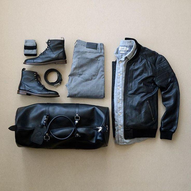 Jacket: PLRB Clothing // Shirt: Grayers // Denim: Blue Rise Denim // Boots: Beckett Simonon // Belt: Levi // Socks: Lucky Brand // Bag: PLRB Clothing