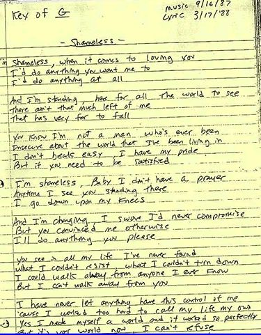 """Shameless"" handwritten lyrics. This Billy Joel/Garth Brooks song is one my dad sang to me when I was little."