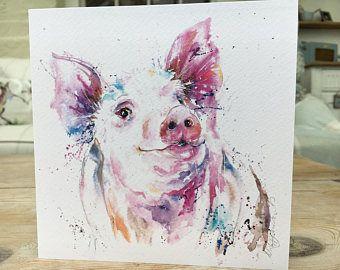 Watercolour Pig Print greetings card / Birthday card Watercolour design by Nicola Jane Rowles