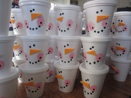 Such a fun way to package up treats for the holidays- snowman cups. Could be used for a Christimas Party or winter snow fun party. Maybe put in the hot chocolate mix and then have ready for the hot water when you need it. Add some cookies in another cup and you have a great treat idea that looks cute. - Pam