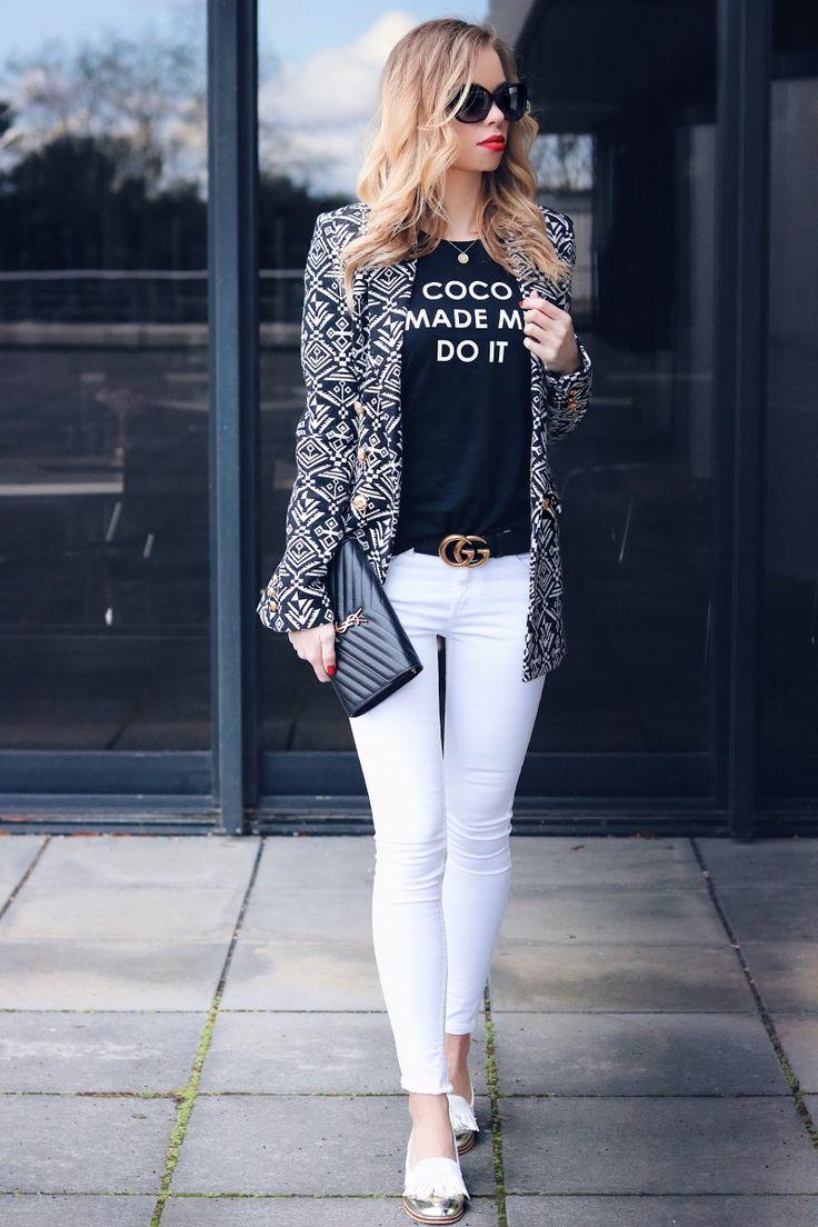 Chanel, YSL, Outfit, Style, Streetstyle, Black and White, Blazer, Aztec, Patterned, Jacquard, Bucci Belt, Gucci Gürtel, Saint Laurent, Bag, Inspiration