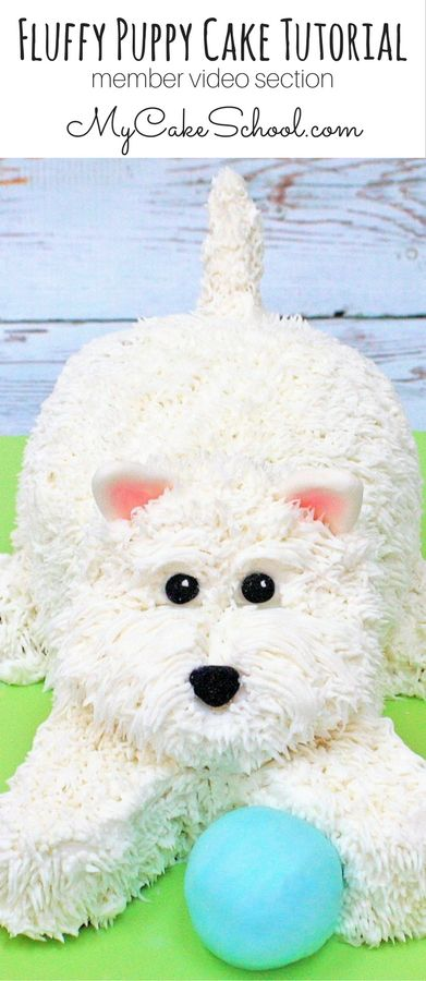 This CUTE Fluffy Puppy Cake is from MyCakeSchool.com's Member Video Section. #puppycake #dogcake #puppycaketutorial #mycakeschool
