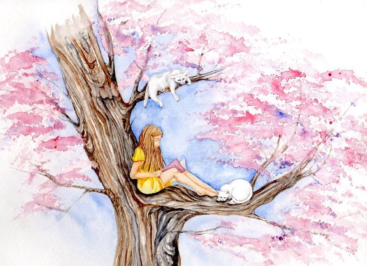 Reading Book on a Sakura Tree  - Art Print of original Watercolor fantasy white cats love st. valentine's Whimsical , cottage,  spring, girl by Goosi on Etsy https://www.etsy.com/listing/221395522/reading-book-on-a-sakura-tree-art-print