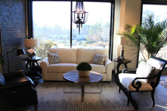 Chairs - Furnish NC | Raleigh, North Carolina, White and Leather Living Room Combination