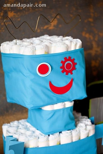 boy baby shower robot theme