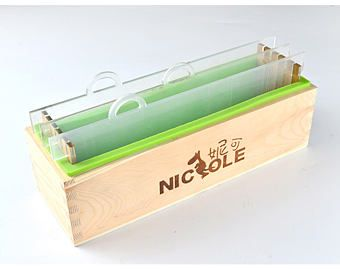 Loaf Silicone Soap Mold Wooden Box Vertical Rendering With Separator DIY Tools 1000ML
