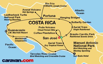 Costa Rica Tour Map