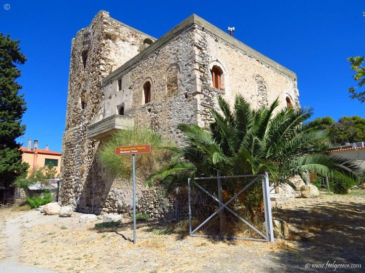 A Medieval tower in Rovies closed for visitors (the knights are locked inside)