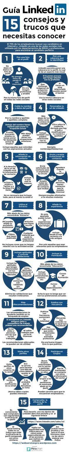 Guía Linkedin: 15 consejos y trucos que necesitas conocer #infografia #socialmedia