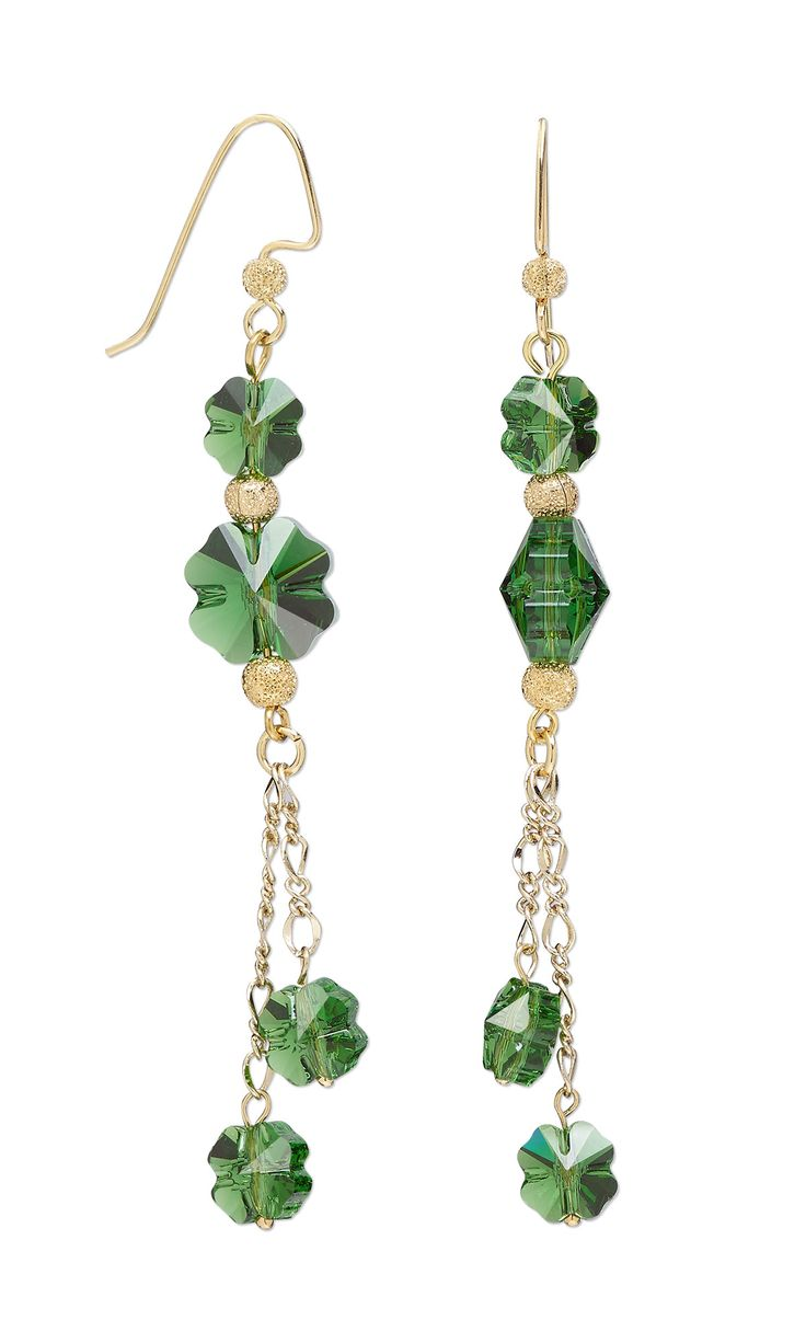 Nice Jewelry Design   Earrings With Swarovski Crystal, Gold Plated Brass Beads  And Gold