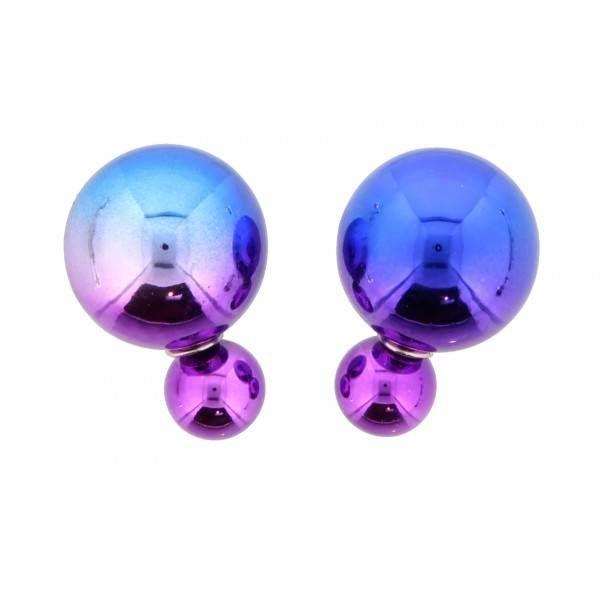 Dubbele oorbellen in het blauw met roze #ohsohip #doublepearl