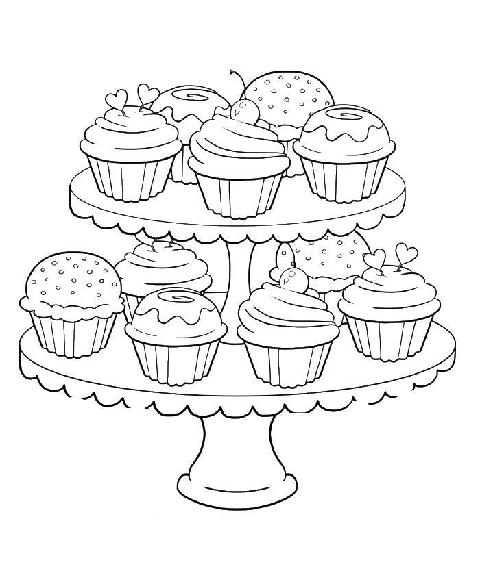 Birthday Cupcake Steady And Delicious Coloring Page