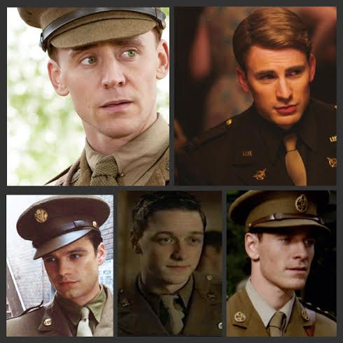Marvel men look good in a 40's uniform :) Tom Hiddleston, Chris Evans, Sabastian Stan, James McAvoy, and Michael Fassbender
