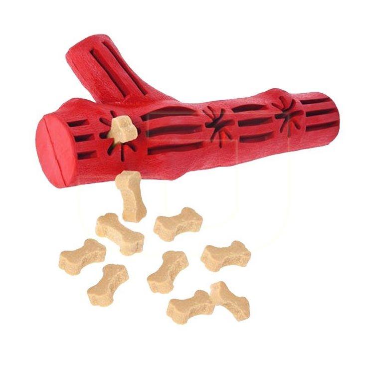 Üzerindeki boşluklara ödül konularak köpeklerin uzun süre oynamasını sağlayan, diş temizliğine yardımcı, vanilya aromalı, dal şeklinde, kauçuk köpek oyuncağında %10 indirim!
