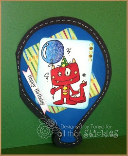 Tonya's Monster card with Baby Blue Stickles