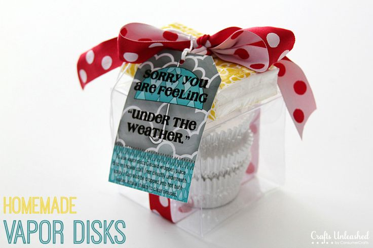 DIY shower decongestant disks wrapped up in a cute box perfect for giving to a friend who is feeling under the weather.