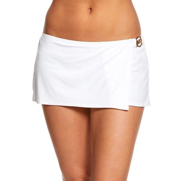 Michael Kors Villa Del Mar Swim Skirt ($68) ❤ liked on Polyvore featuring swimwear, bikinis, bikini bottoms, white, michael kors swimsuit, swim suits, white bikini, swimsuits bikinis and white bikini bottoms