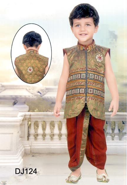 Green Brocade Readymade Dhoti -Jacket