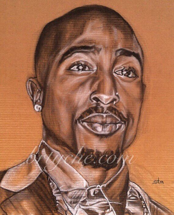 Tupac Tupac Shakur African American Art Afro Art Music by brtyche                                                                                                                                                     Mais