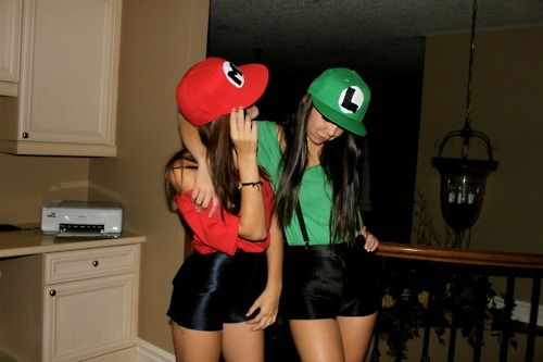 Couple Costume: Mario and Luigi for Girls. This is what I'm basing ours on. Except we'll probably wear Jeans. @Katy Rose Arnold