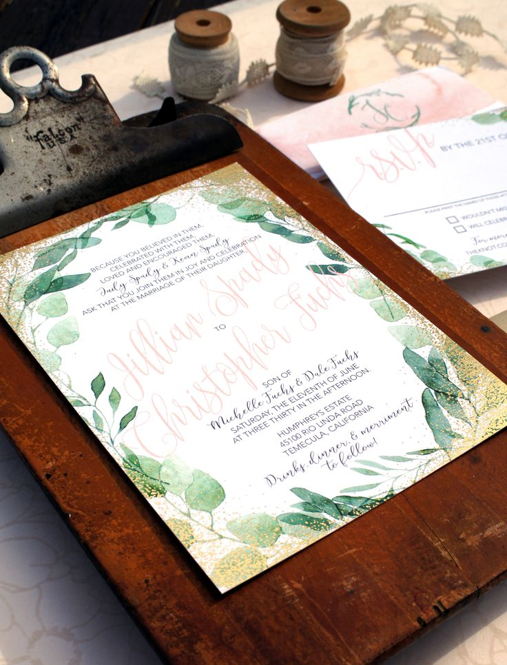 golden wedding card making ideas%0A Watercolor greens and gold foil wedding invitations  modern design  Custom  wedding invite suites