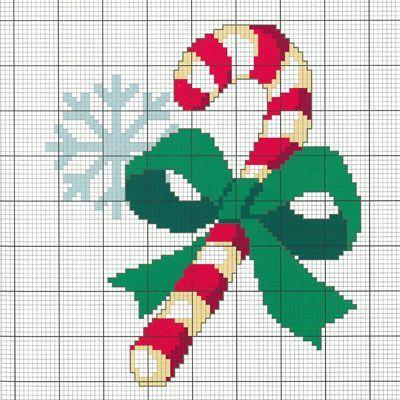 """Téléchargez votre diagramme DMC gratuit """"canne de Noël"""" en cliquant sur l'image"""