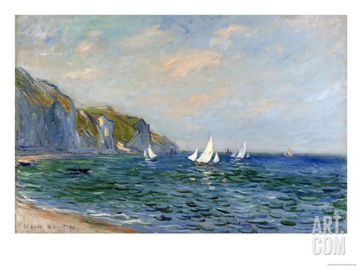 Cliffs and Sailboats at Pourville, by Claude Monet