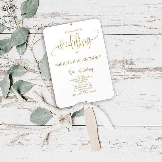 Wedding Program Fan, Gold Wedding Program, Printable #weddings #invitation @EtsyMktgTool http://etsy.me/2z9Aq4P #goldweddingprogram