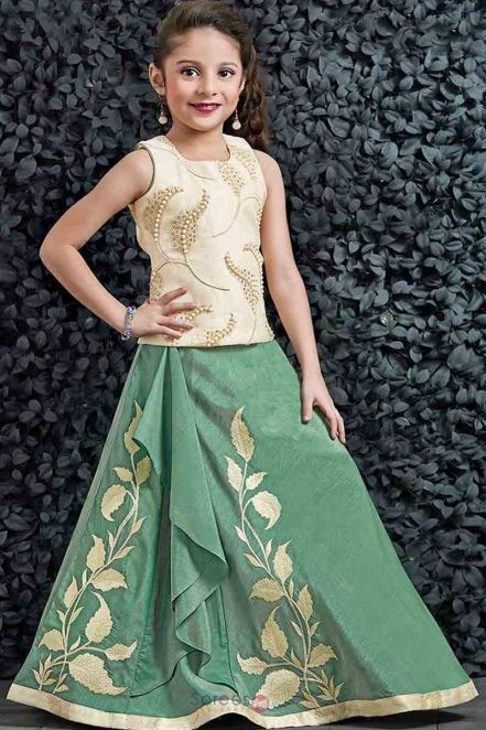 2a15969f98ccc Threadsutra #Kidsgirl #Dresses - Silk Kids #Gown in Green | Kids ...