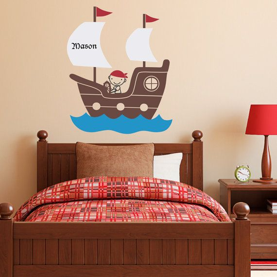 pirate ship wall decal with personalized boys name pirate wall art children wall decals. Black Bedroom Furniture Sets. Home Design Ideas