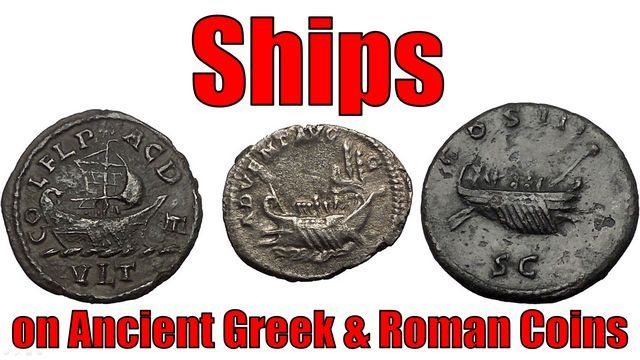 Ships in form of Galleys and look Trireme on Ancient Greek and Roman Coins