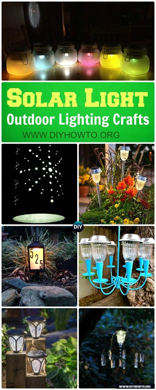 DIY Solar Light Craft Ideas For Home and Garden Lighting: new ways to use the garden solar lights to make more creative solar lighting fixture possibilities via @diyhowto #Lighting #Garden