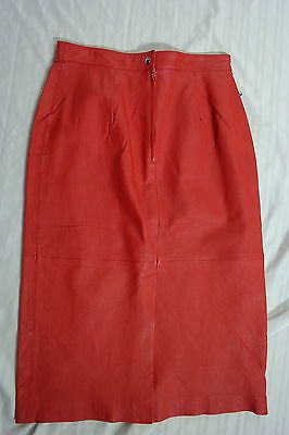 OTHELLO PELLE VINTAGE WOMEN'S RED LEATHER FULLY LINED SKIRT SIZE 15/16