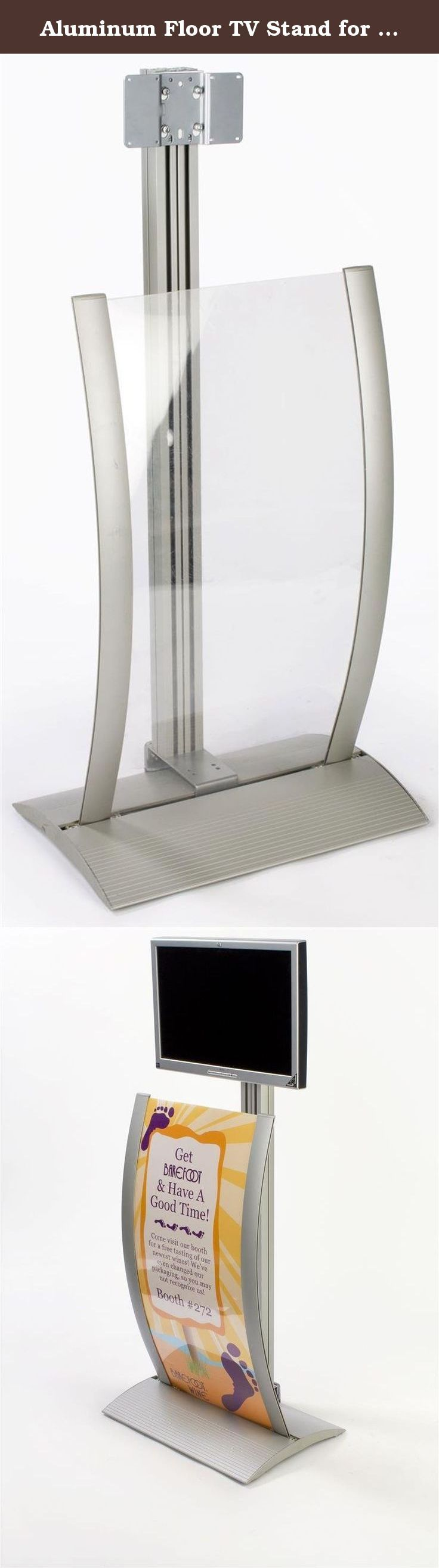 Aluminum Floor TV Stand for a 23 to 30 inch Monitor, with Curved Poster Frame (Graphics Not Included) - Silver. This floor TV stand differs from most LCD or plasma television holders as it includes a large-size poster frame at the front of the display. The separate sign holder features a curved design and holds an 18 inch wide by 37 inch long graphic (not included.) When designing your artwork, please keep in mind that 0.5 inches on each side is covered by the aluminum framing. The poster...