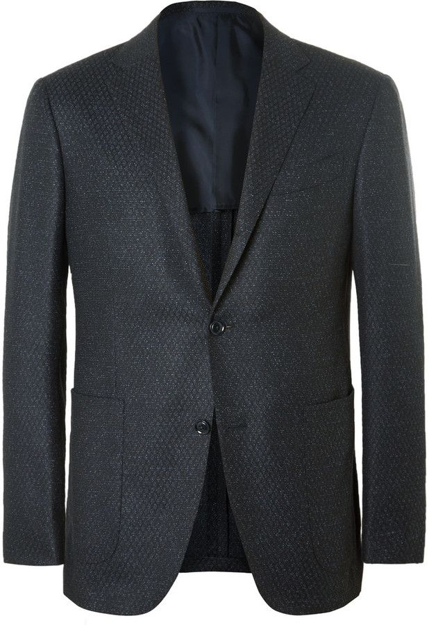 Ermenegildo Zegna Blue Milano Slim-Fit Mélange Wool and Silk-Blend Blazer