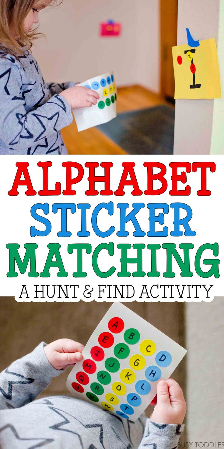Alphabet Sticker Match - such a fun movement activity with alphabet letters! My kids love this!